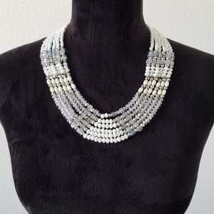 B2G1 Ali and Jules Beaded Multistrand Bib Necklace